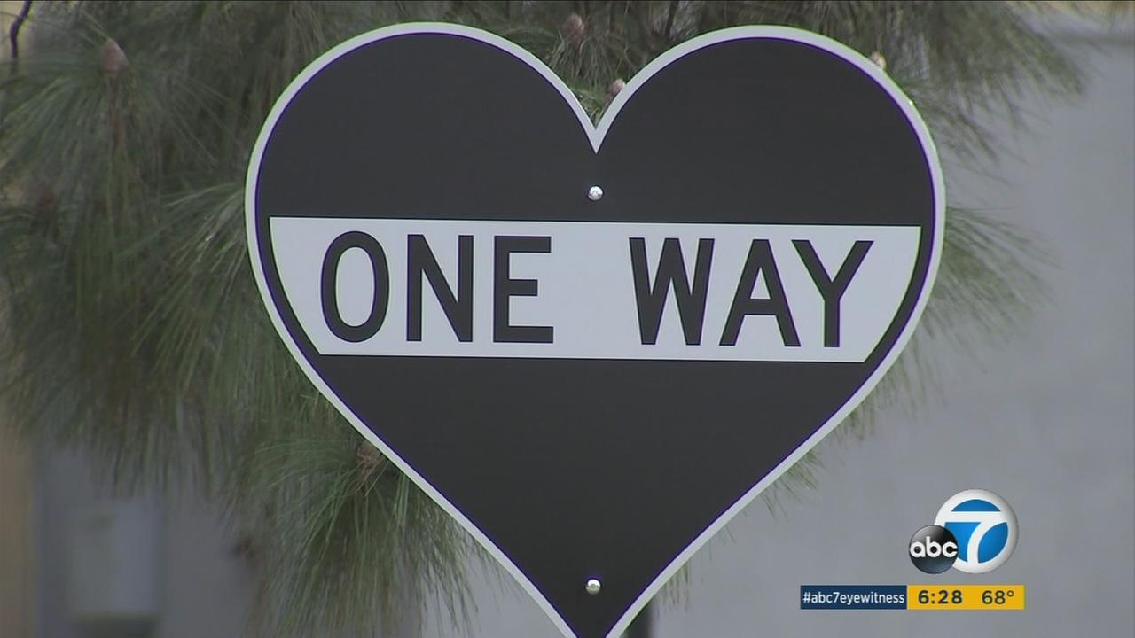 One of 20 different street signs showing positive messages as part of an art installation is shown in Glendale on Wednesday, Nov. 15, 2017.