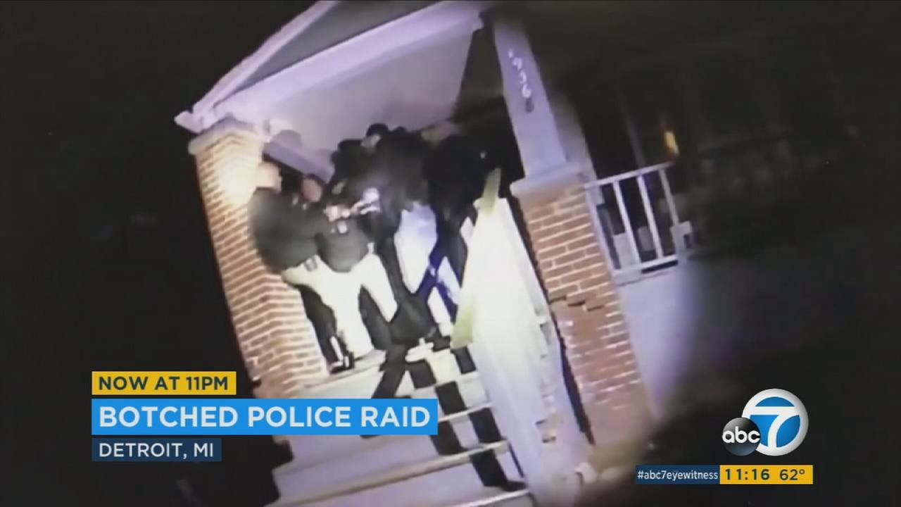Detroit police seen in a scuffle during a botched drug raid.