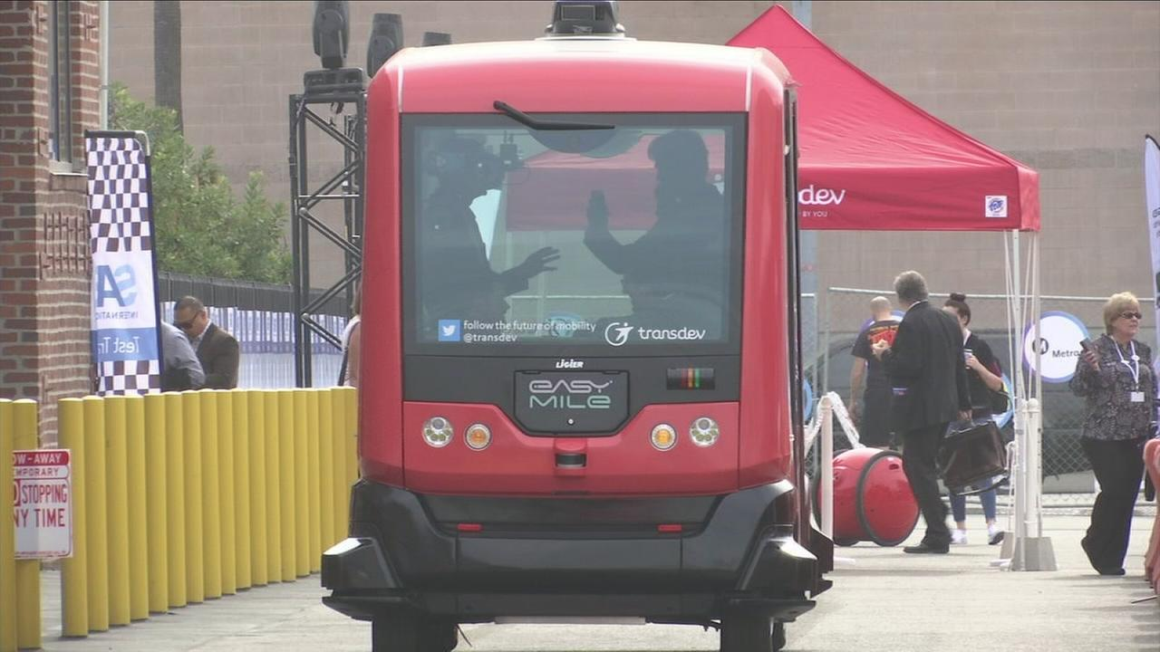 A driverless vehicle is shown on display at the LA CoMotion Festival on Thursday, Nov. 16, 2017.