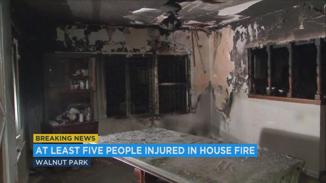 At least five people were injured when a fire erupted early Friday morning at a Walnut Park house that is home to 31 people, authorities said.