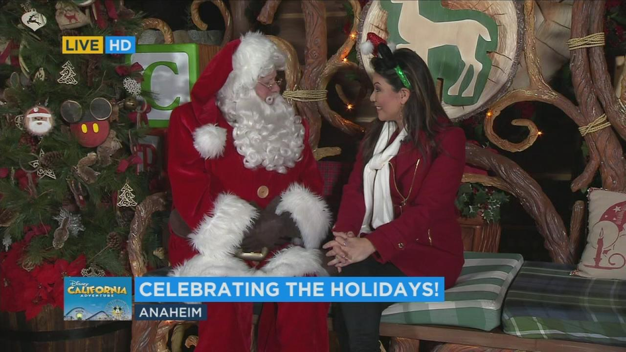 ABC7 reporter Kimi Evans speaks to Santa Claus at the Disneyland Resort on Friday, Nov. 17, 2017.