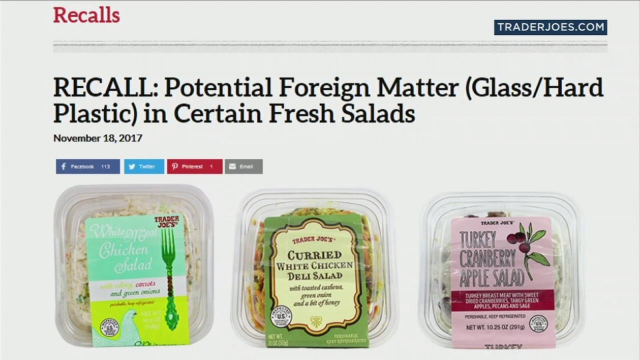 Three different salads from Trader Joes that are being recalled due to possible glass shards and plastic.