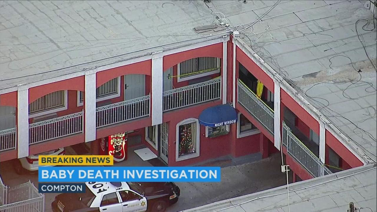 A motel where a dead baby boy was found is shown in footage captured by AIR7 HD in Compton on Monday, Nov. 20, 2017.