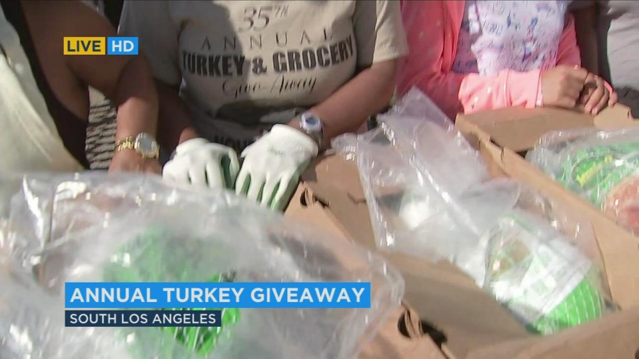 Some of thousands of turkeys being given out by the Jackson Limousine Service on Tuesday, Nov. 21, 2017.