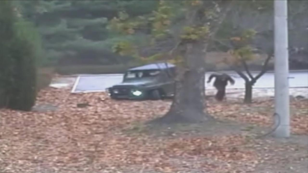 A North Korean soldier races for the border in a jeep and then on foot before his former comrades shoot him at least five times as he limps into South Korea.