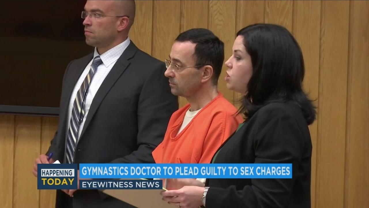 Larry Nassar, 54, is shown in court in Michigan during his sexual assault trial.
