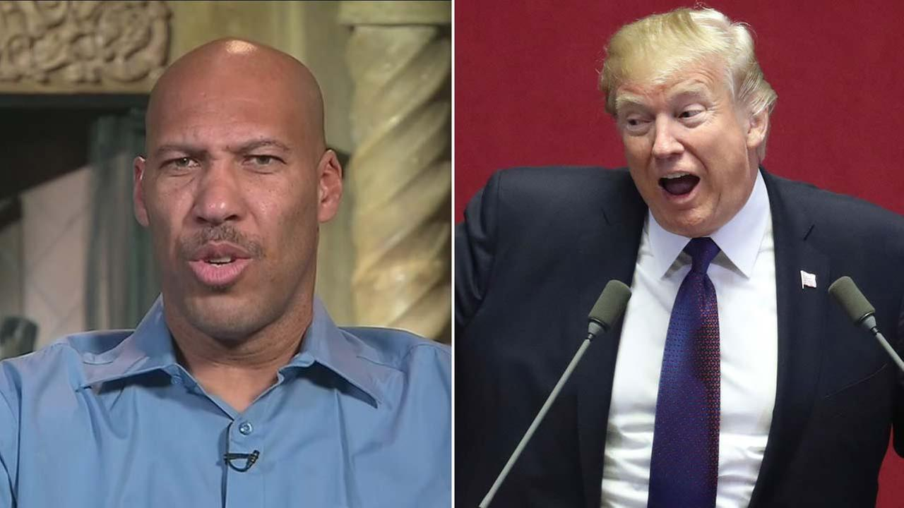 President Donald Trump and LaVar Ball are seen in file photos.