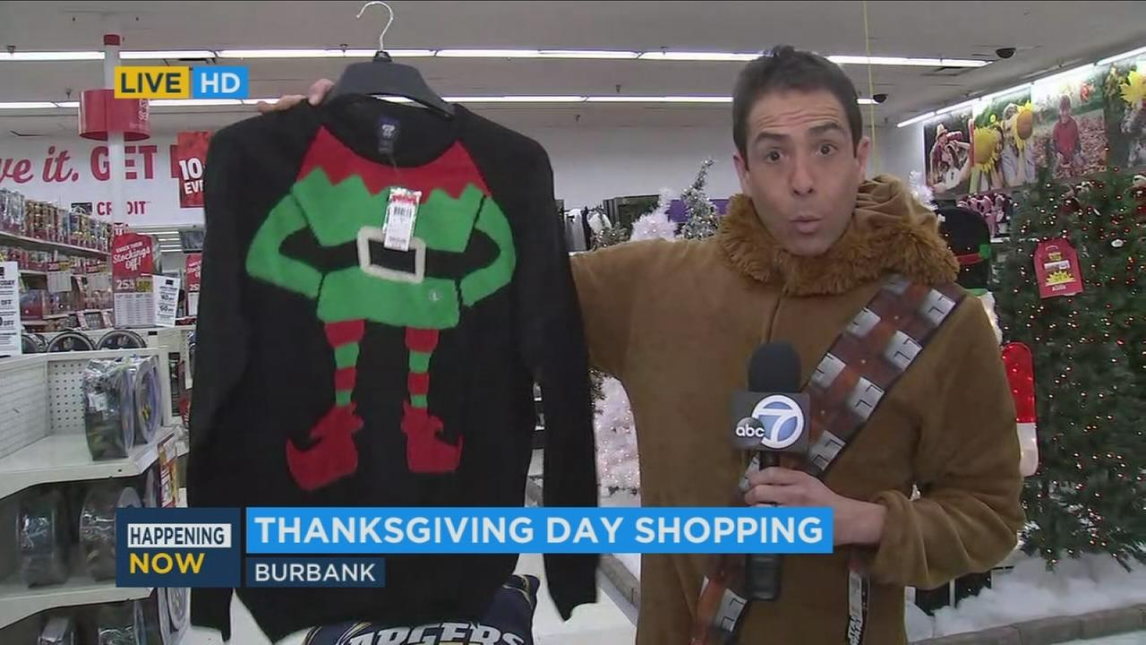 ABC7 reporter Marc Cota Robles showed off some items that were on sale at a Burbank Kmart during Thanksgiving, Thursday, Nov. 23, 2017.