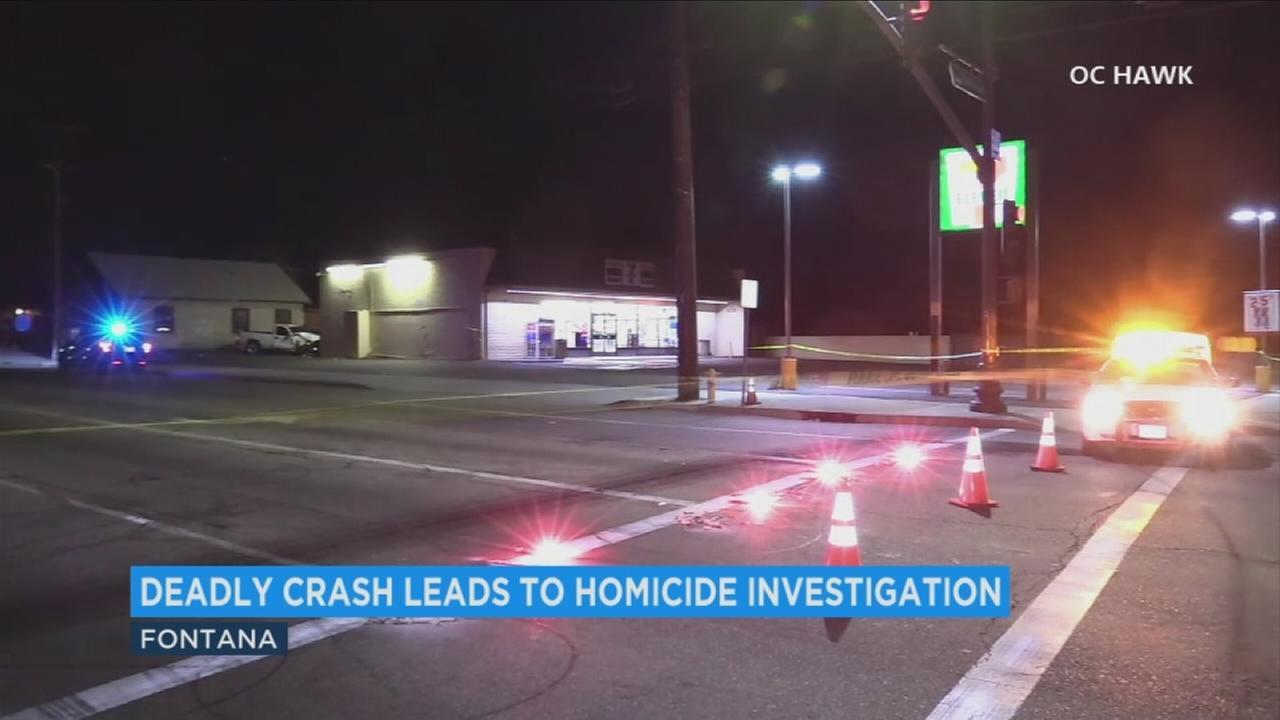 Homicide detectives are gathering evidence at the scene of a deadly crash in Fontana.