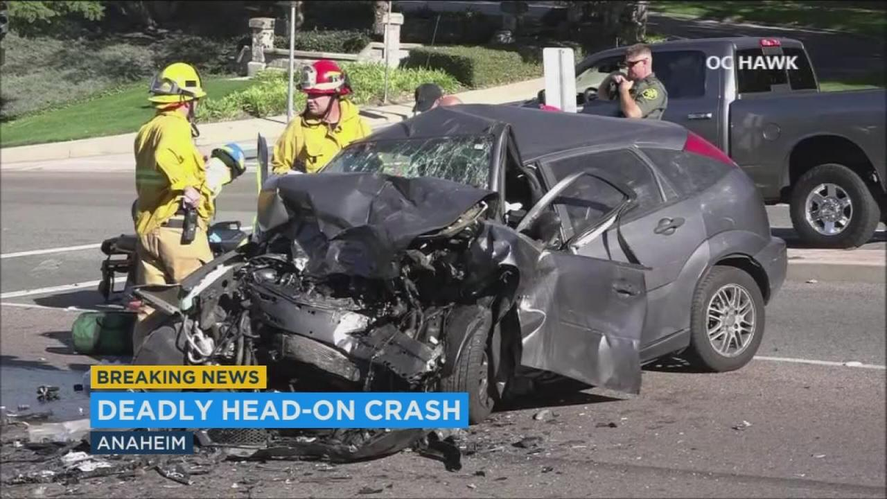 Two people are dead and two others were transported to local hospitals after a chase ended in a head-on collision in Anaheim, authorities said.