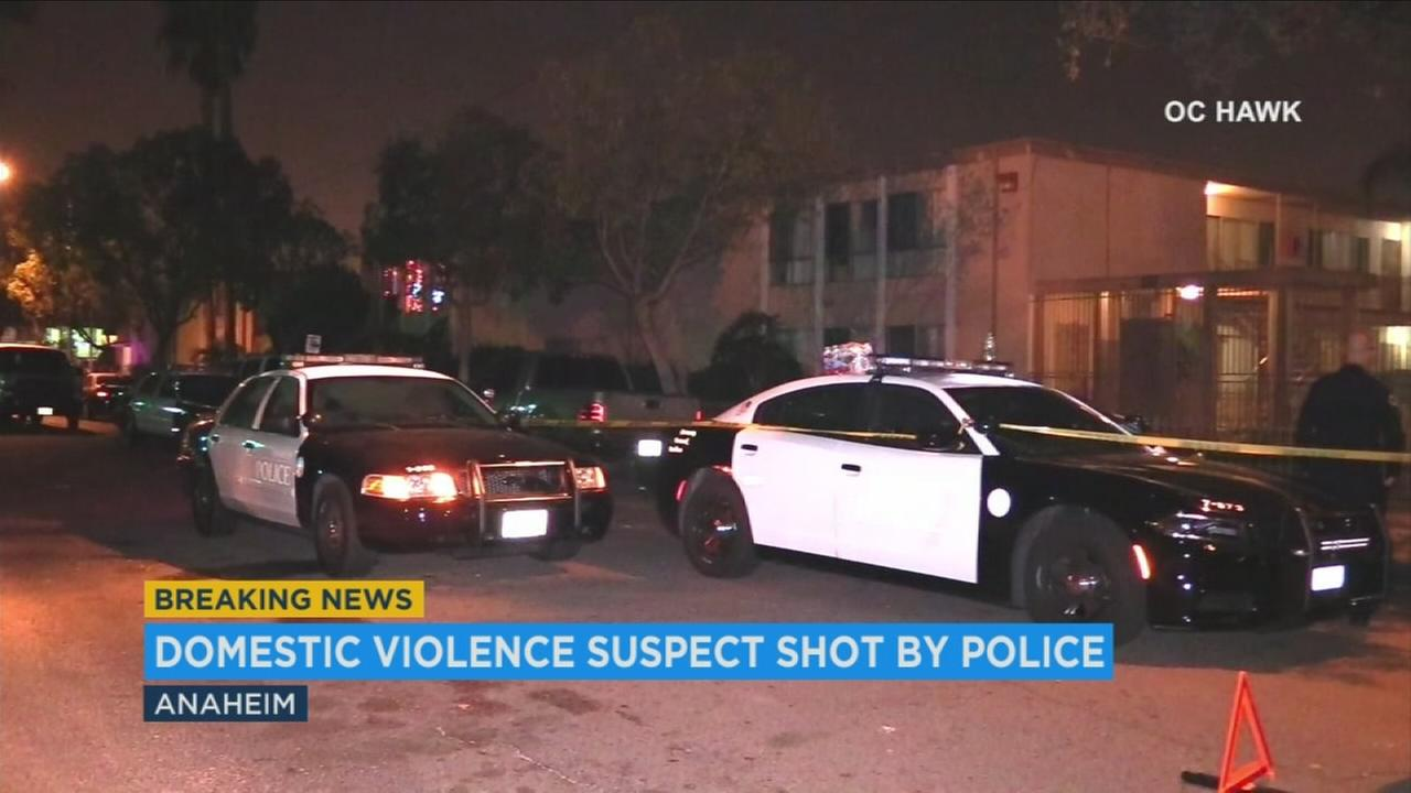 Patrol vehicles surround the scene of an officer-involved shooting in Anaheim on Saturday, Nov. 25, 2017.