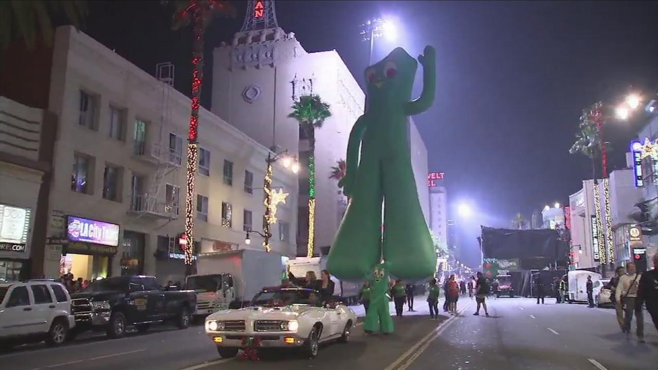 A giant Gumby float moves through Hollywood during the annual Christmas parade on Sunday, Nov. 26, 2017.