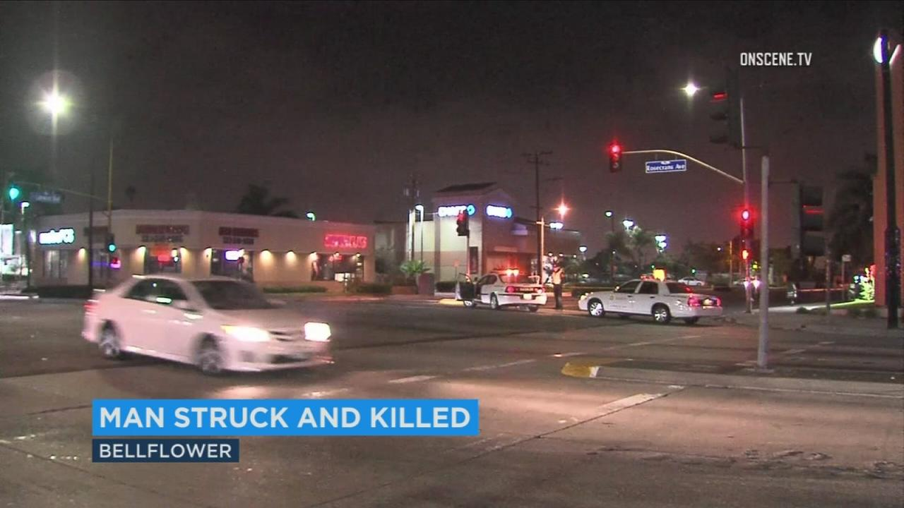A man in his 50s died after he was struck by a hit-and-run driver in Bellflower, then struck by a second vehicle near Lakewood Boulevard and Rosecrans Avenue.