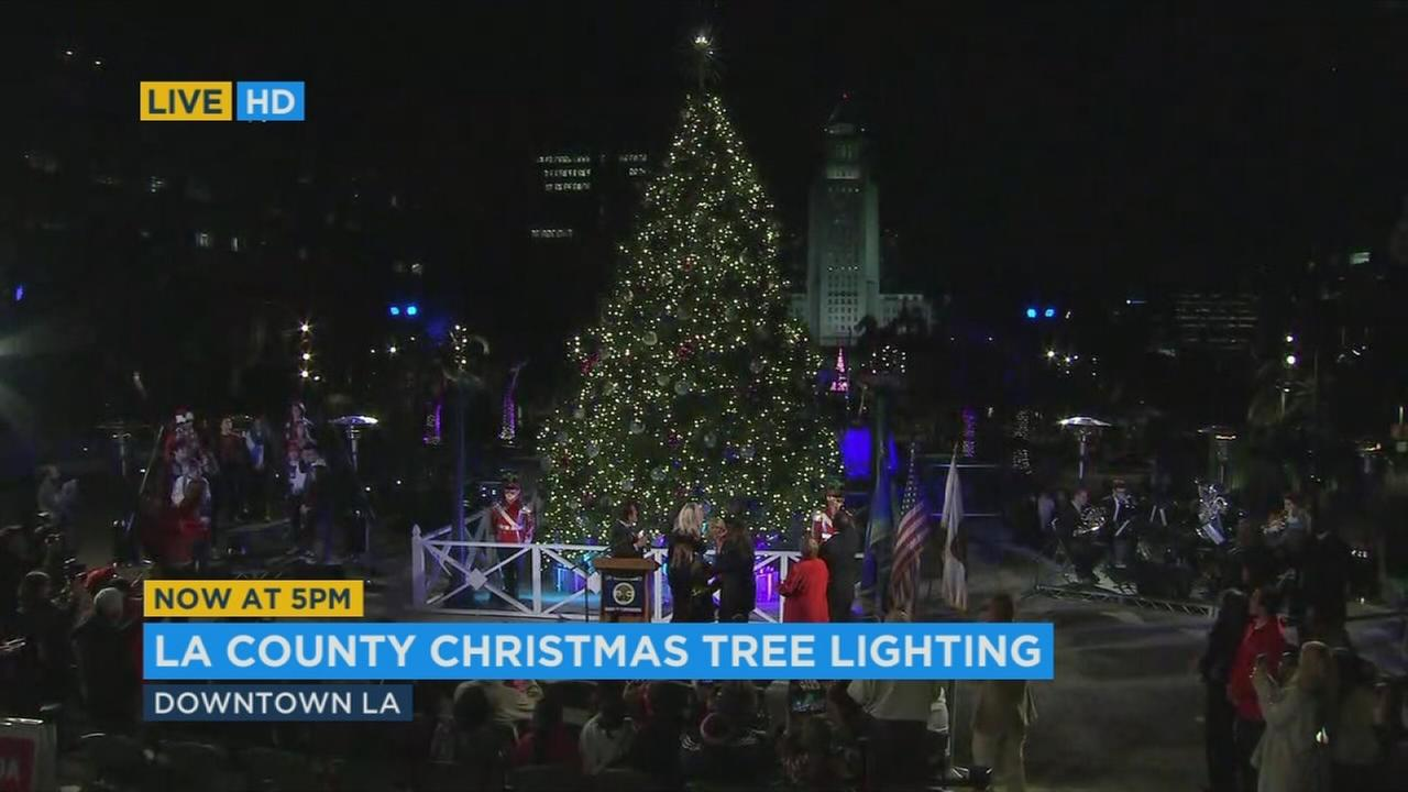 A Christmas tree in downtown Los Angeles is lit during a ceremony at Grand Park.