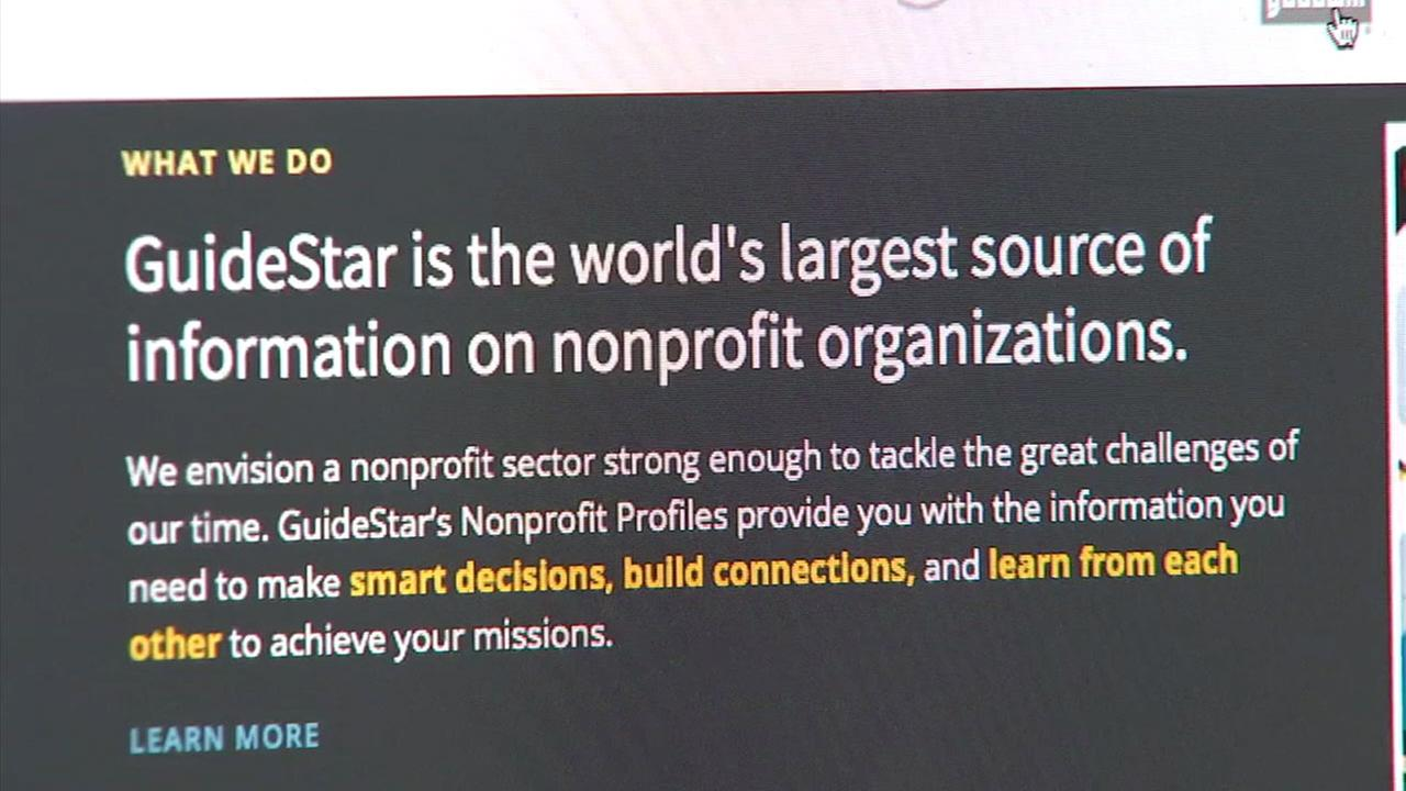 Guidestar, a website that tracks information on charitable websites, is shown in a screenshot.