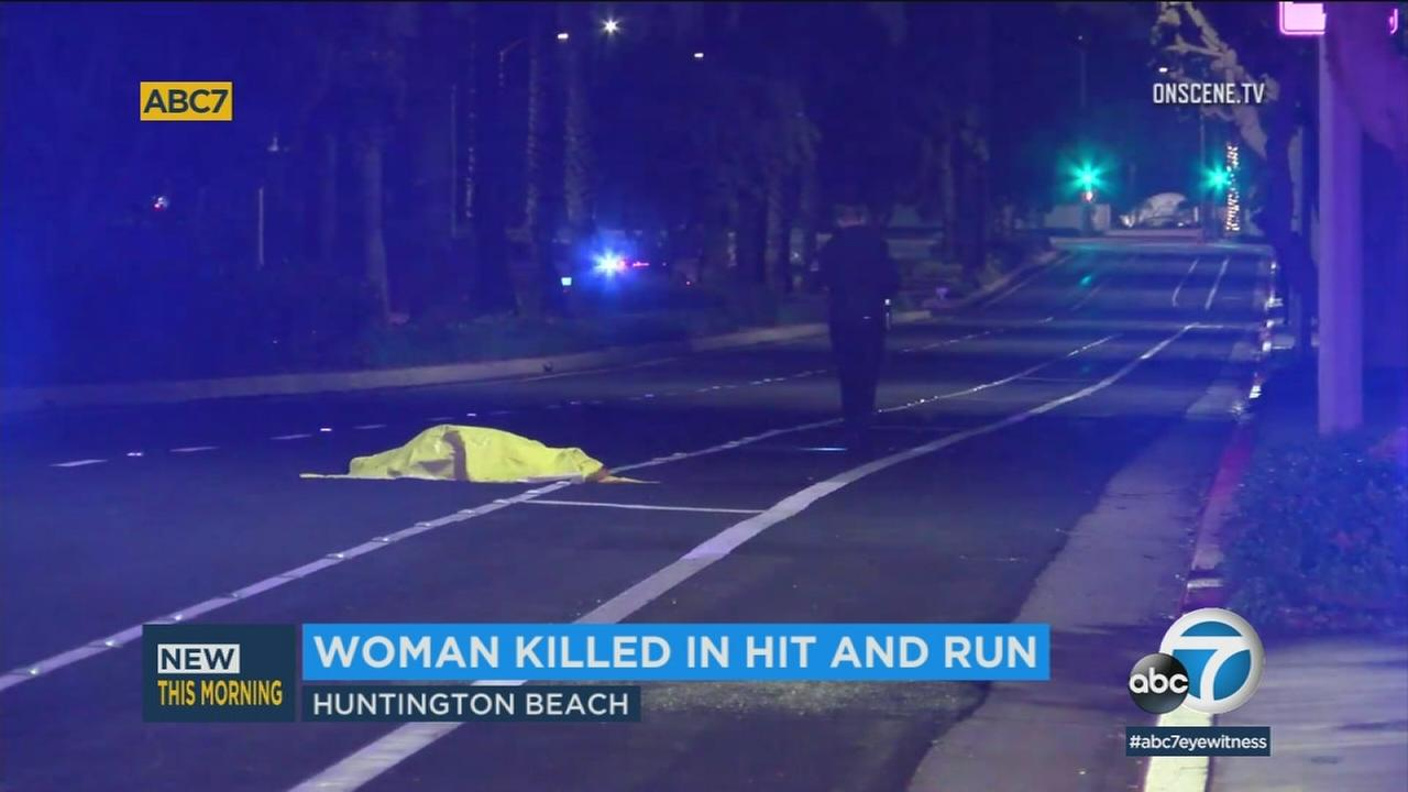 A womans body was found on a street in Huntington Beach early Wednesday morning after she was struck and killed by a hit-and-run driver, authorities said.