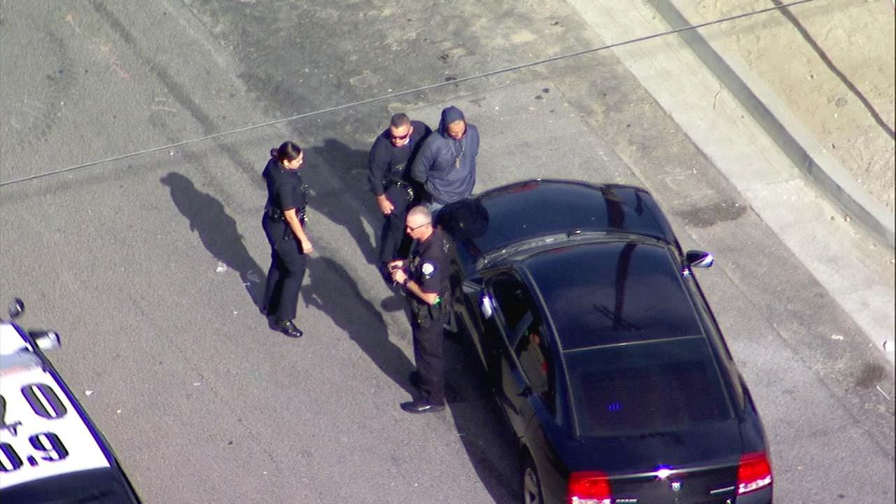 One of two burglary suspects was taken into custody after leading police on a chase in the San Fernando Valley on Wednesday, Nov. 29, 2017.