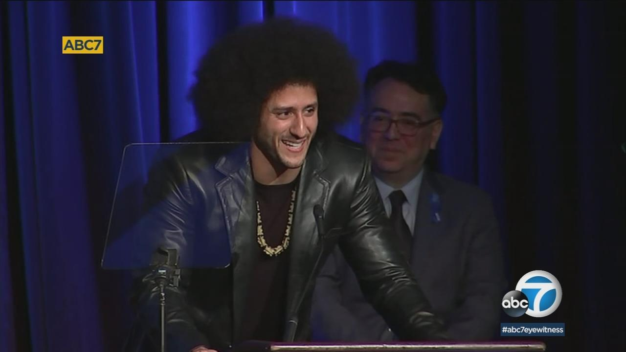 The ACLU of Southern California honored former NFL quarterback Colin Kaepernick and a host of Hollywood figures for their participation in battles for civil rights.