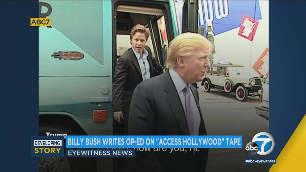 Video shows Billy Bush and President Donald Trump amid a scandal about an Access Hollywood tape talking about fame enabling Trump to grope women.