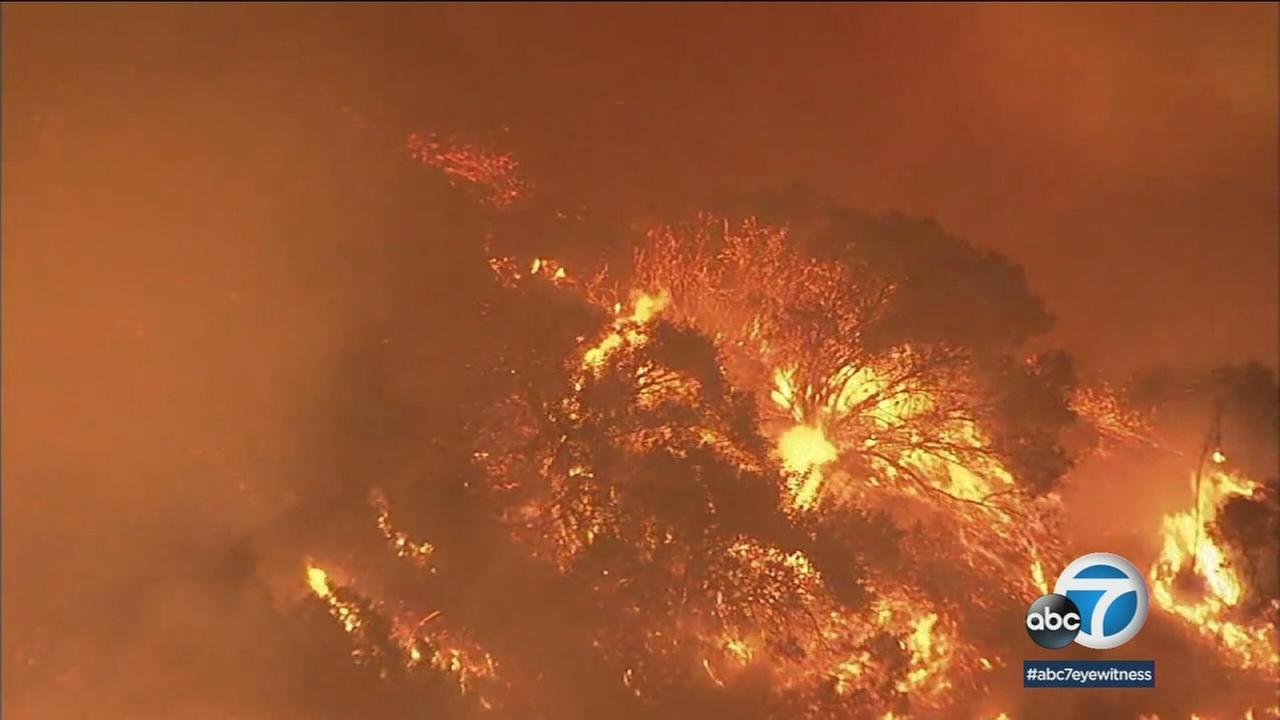 An old image shows the beginning of the Skirball Fire that quickly ignited along the 405 Freeway near the Getty Center on Wednesday, Dec. 6, 2017.