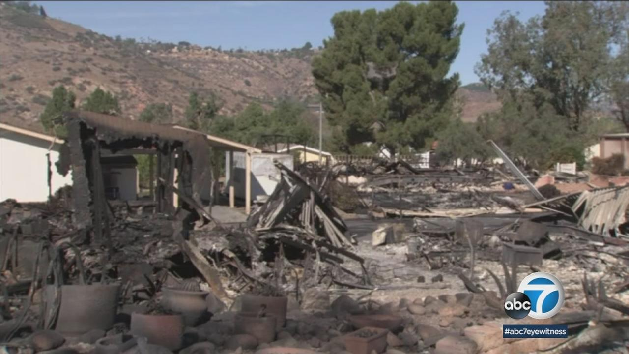 A destroyed home in the area of Fallbrook is shown after the fast-moving and destructive Lilac Fire hit the region.