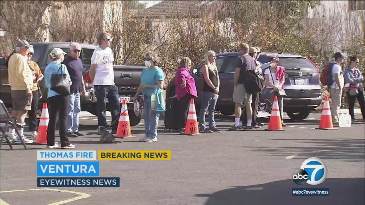 Ventura County residents remain evacuated amid the Thomas Fire on Saturday, Dec. 9, 2017.