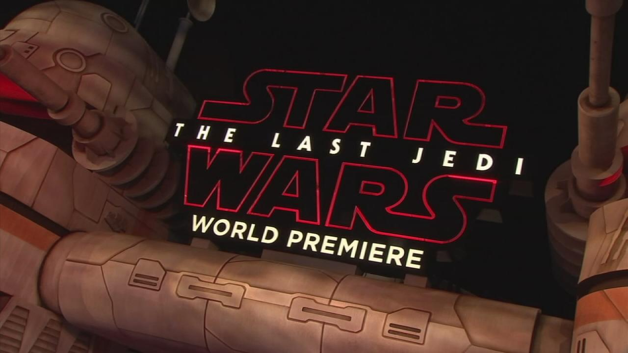 A sign from the Star Wars: The Last Jedi premiere in Los Angeles on Saturday, Dec. 9, 2017.