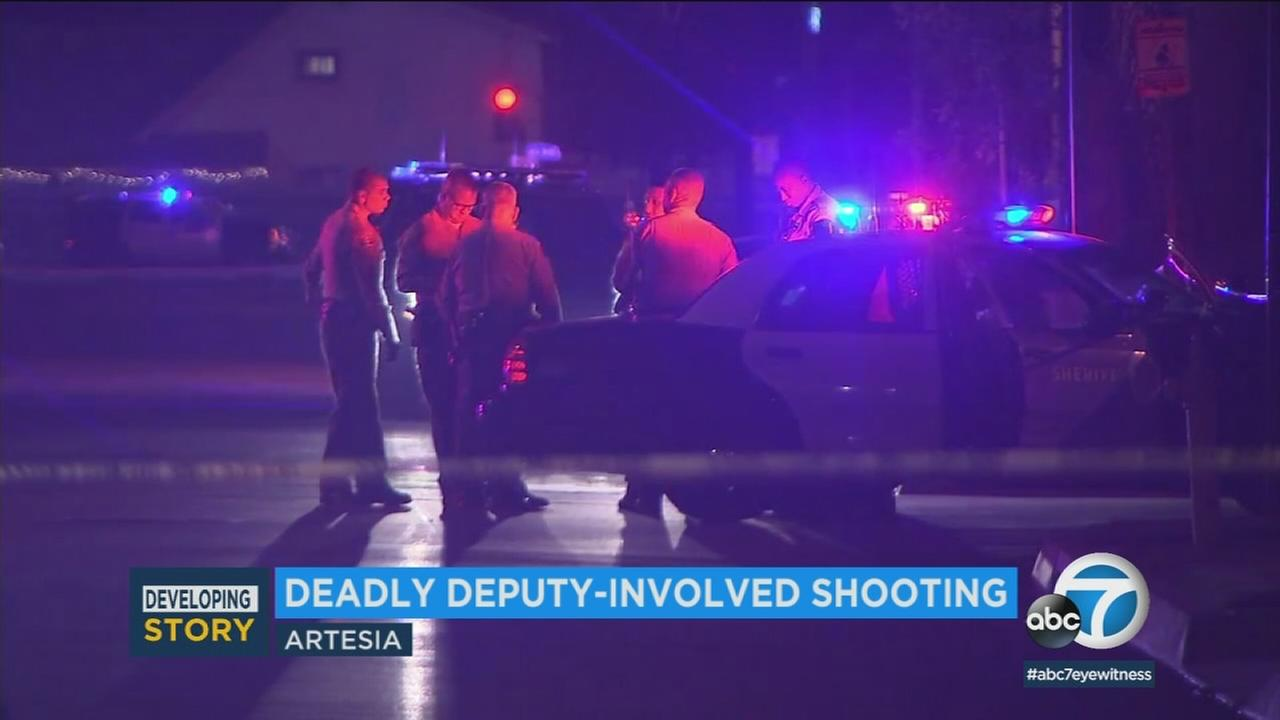 A suspect was killed in a sheriffs deputy-involved shooting in Artesia Sunday, Dec. 10, 2017, officials said.