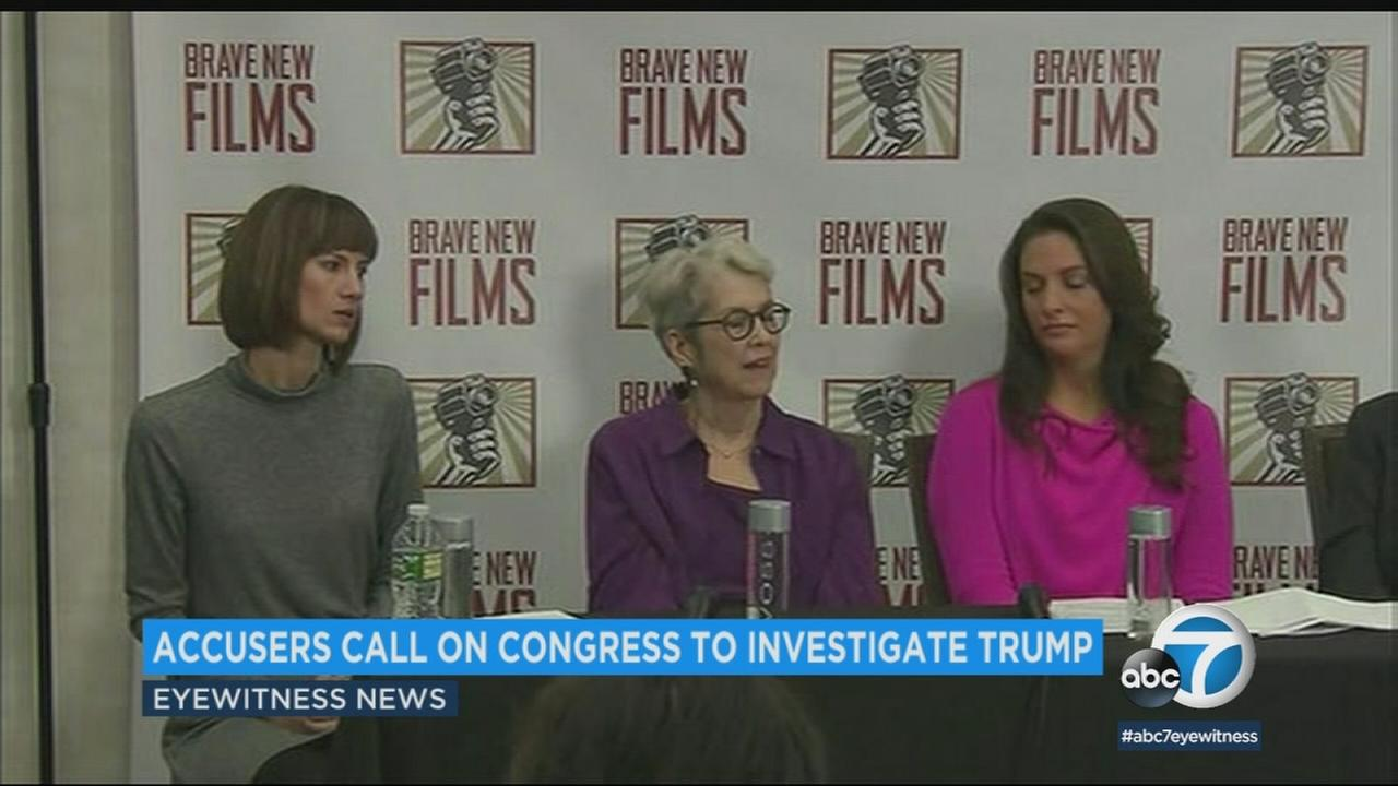Three woman whove accused President Donald Trump of sexual harassment called on congress Monday, Dec. 11, 2017, to investigate the presidents alleged behavior.
