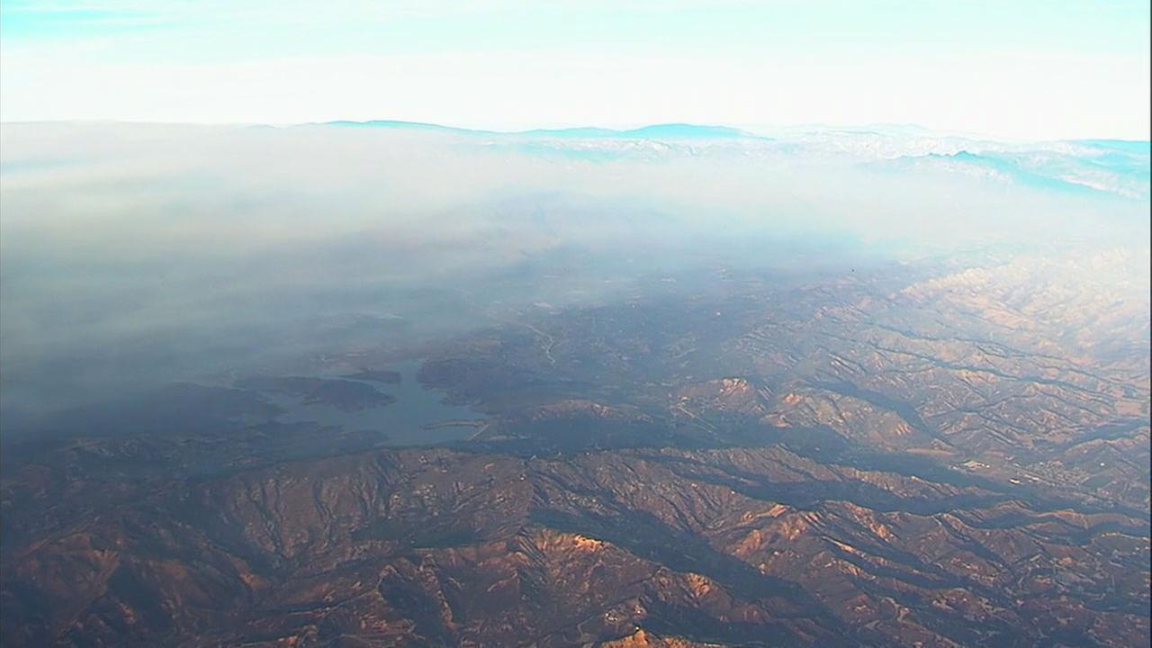Thick clouds of smoke and ash caused by the Thomas Fire covered the mountain areas in Ventura and Santa Barbara counties.
