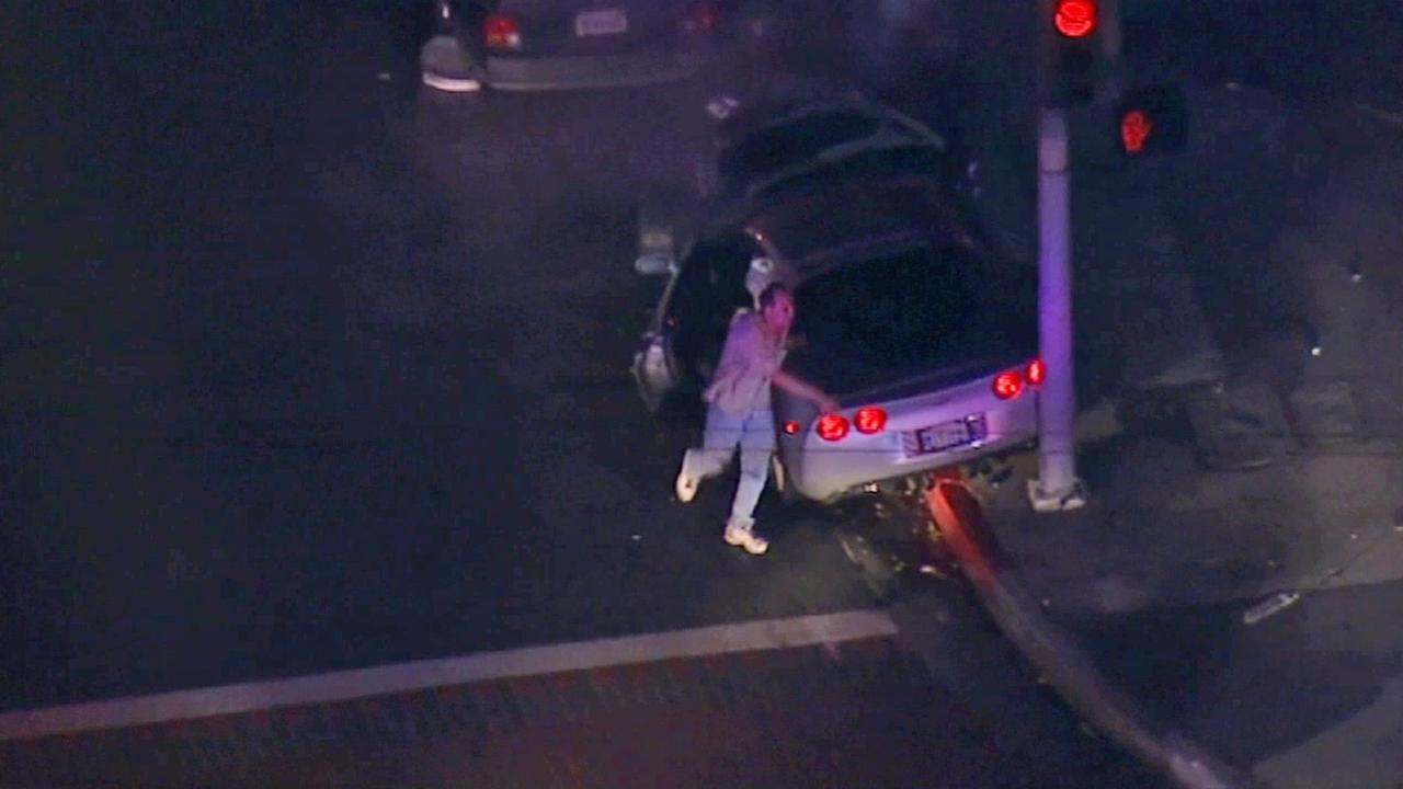 Brian Beaird is seen after his car crashed during a police chase in Dec. 13, 2013.