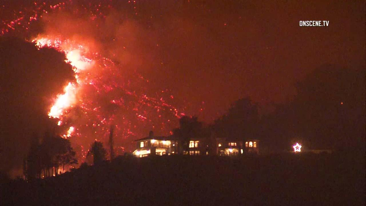 Flames from the Thomas Fire are seen in this photo.