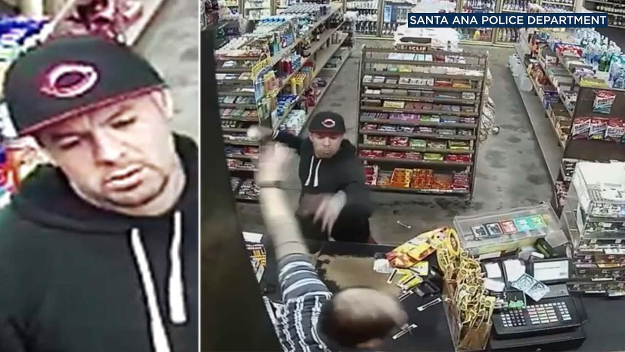 Surveillance footage shows a man attempting to steal a 12 pack of beer from a liquor store in Santa Ana on Nov. 25, 2017.