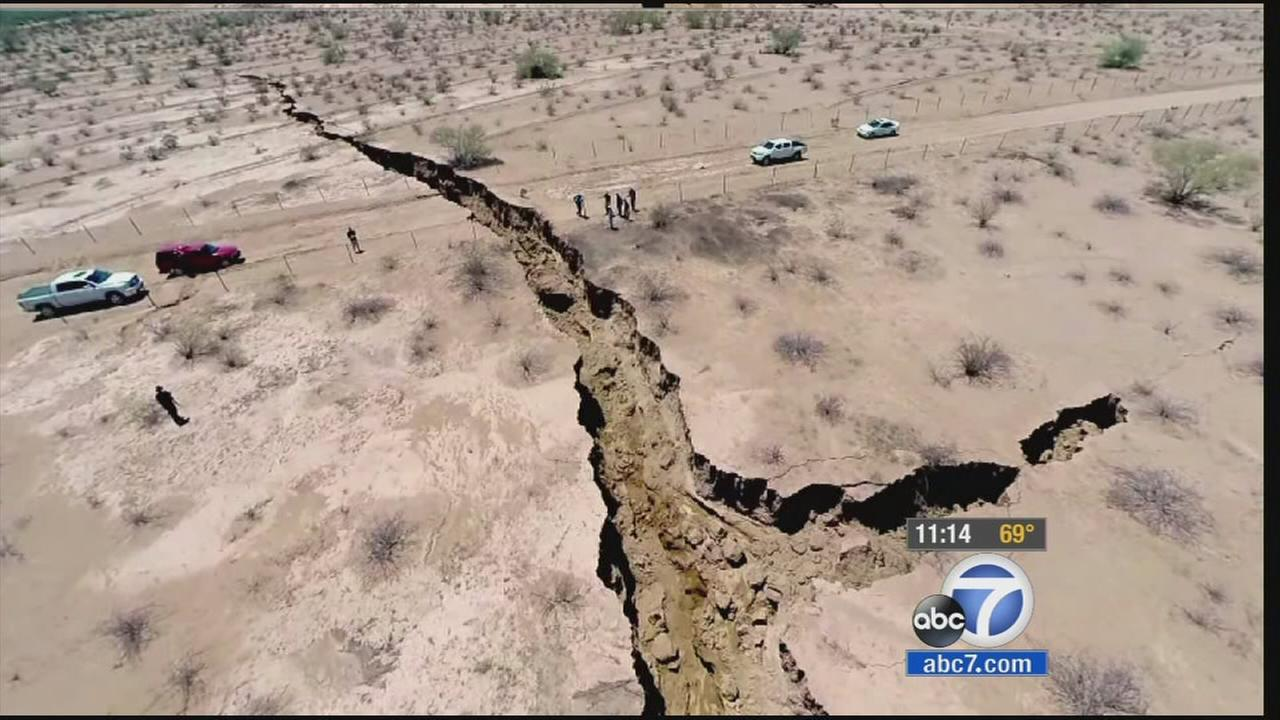 A giant crack in the ground in seen in Mexico.