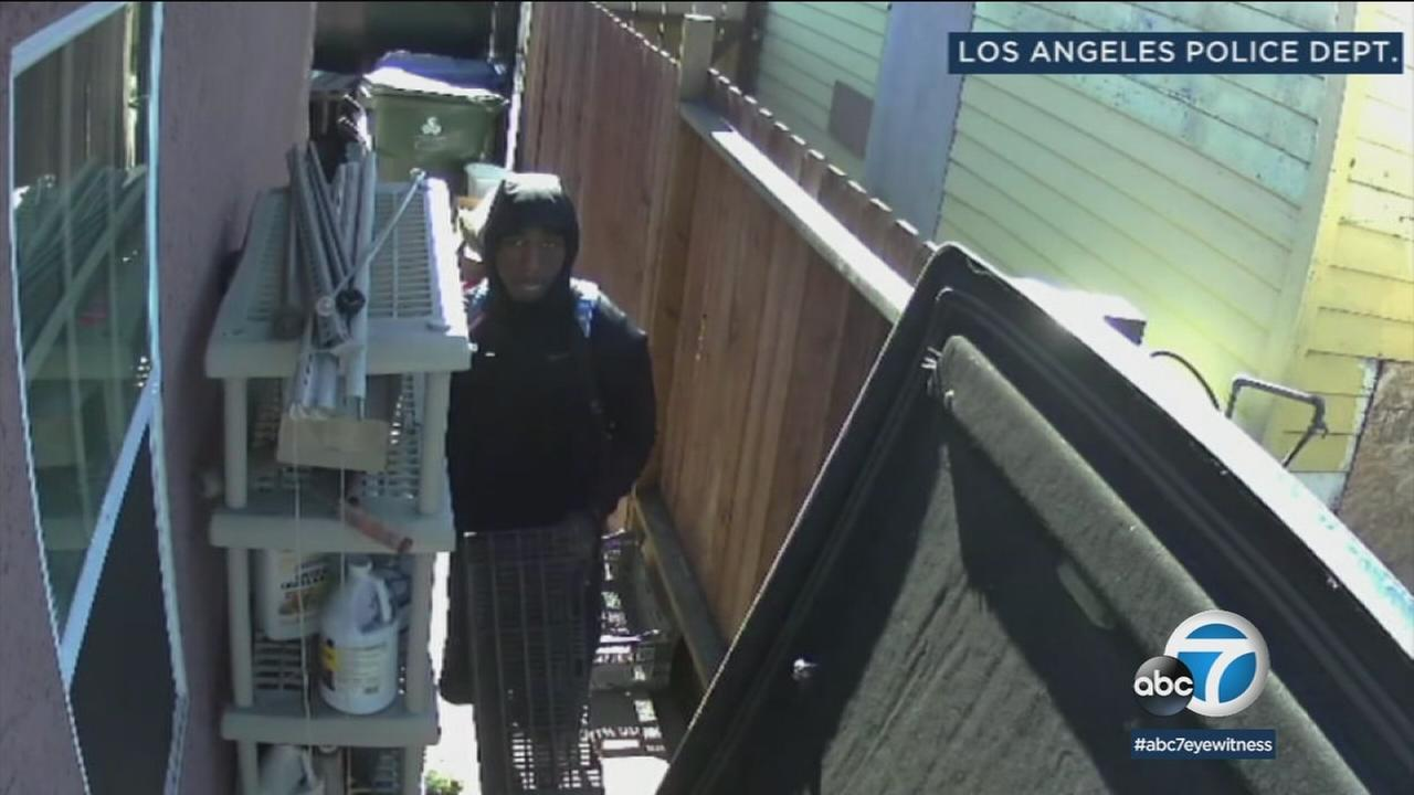 A San Pedro burglary suspect is shown in surveillance footage. Police hope the image will help provide a name to his face.