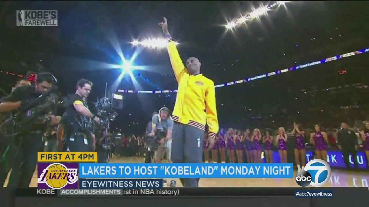 The Los Angeles Lakers are hosting a Kobe Bryant-themed extravaganza, dubbed Kobeland, to mark the retirement of his jerseys.