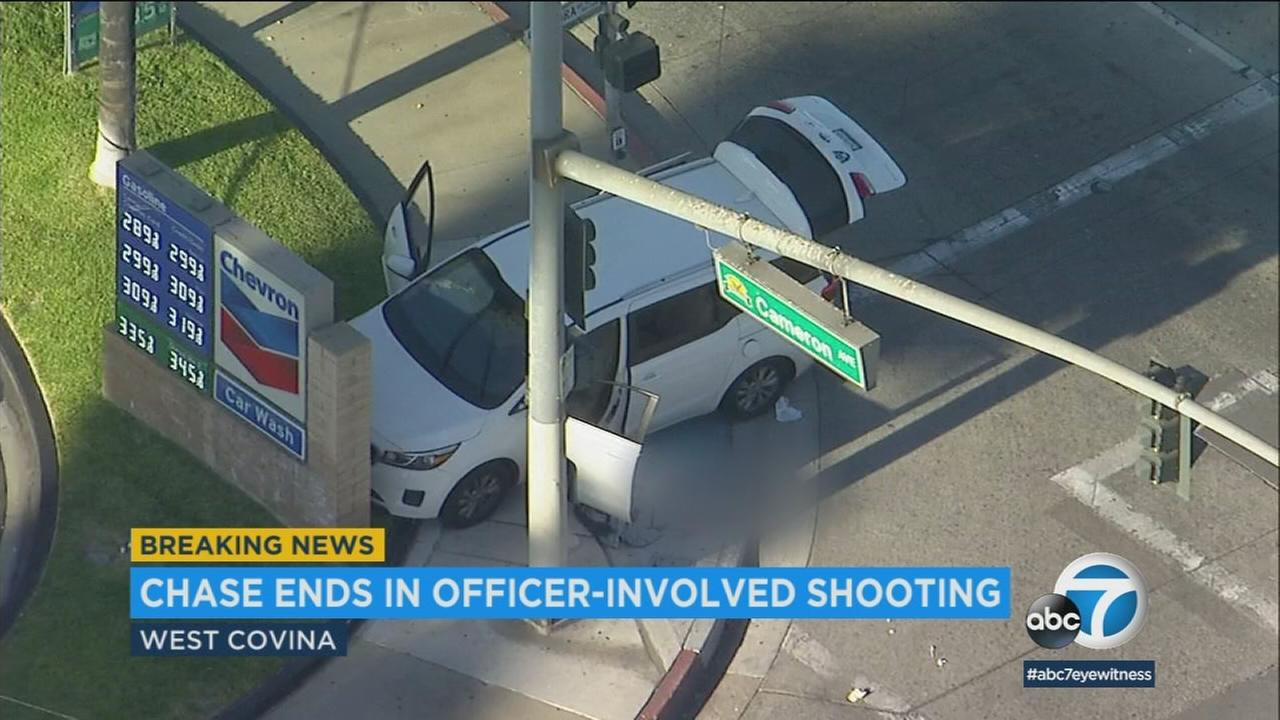 A burglary suspect was hospitalized in unknown condition after an officer-involved shooting Friday afternoon in West Covina, authorities said.