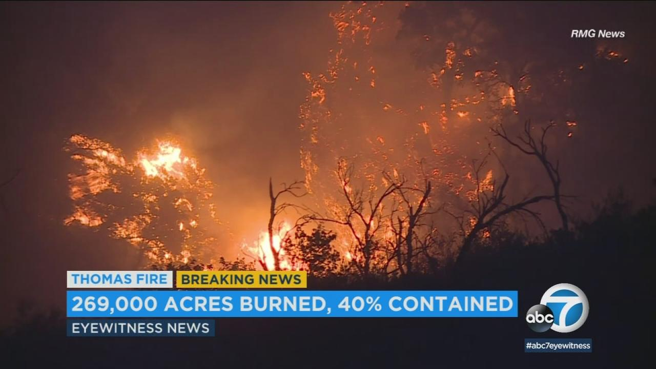 The size of the Thomas Fire inched upward to 269,000 acres overnight Saturday as the devastating blazes containment level remained at 40 percent, officials said.