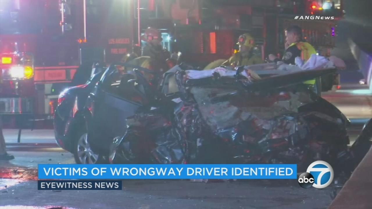 Officials have released the names of the four people who were killed early Sunday morning in a head-on collision on the 210 Freeway in Lake View Terrace.