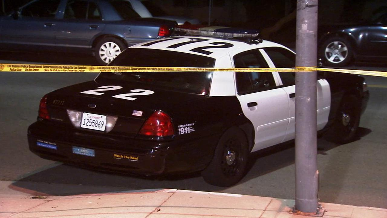 An LAPD car at the scene of a barricade in Sylmar on Sunday, Aug. 24, 2014.
