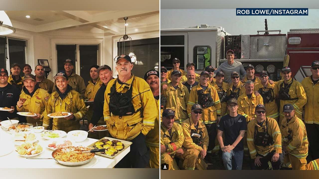Rob Lowe posted photos of firefighters on social media and thanked them for battling the Thomas Fire.