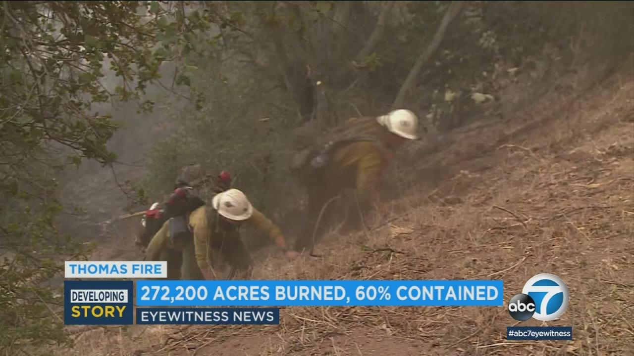 Firefighters seen working on the deadly Thomas Fire that burned in Ventura and Santa Barbara counties.