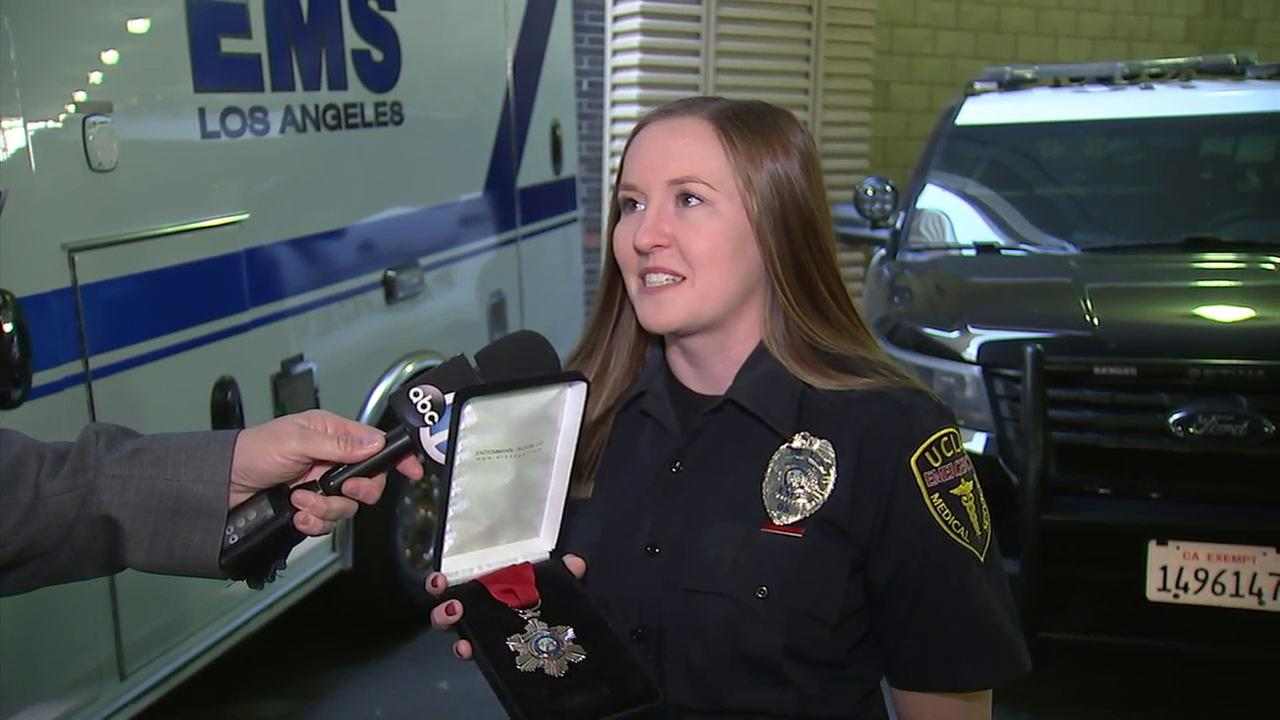 UCLA EMT Brittany Speer was awarded with a medal for her bravery helping others during the Las Vegas mass shooting.