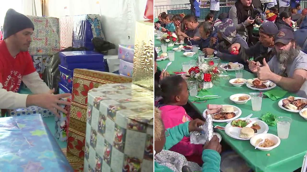 Volunteers at the Los Angeles Mission gave away gourmet holiday meals and even toys to families in need on Friday, Dec. 22, 2017.