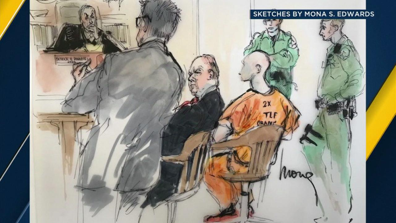 A sketch of a courtroom hearing for Oscar Moriel, a Santa Ana jailhouse informant, is shown on Friday, Dec. 22, 2017.