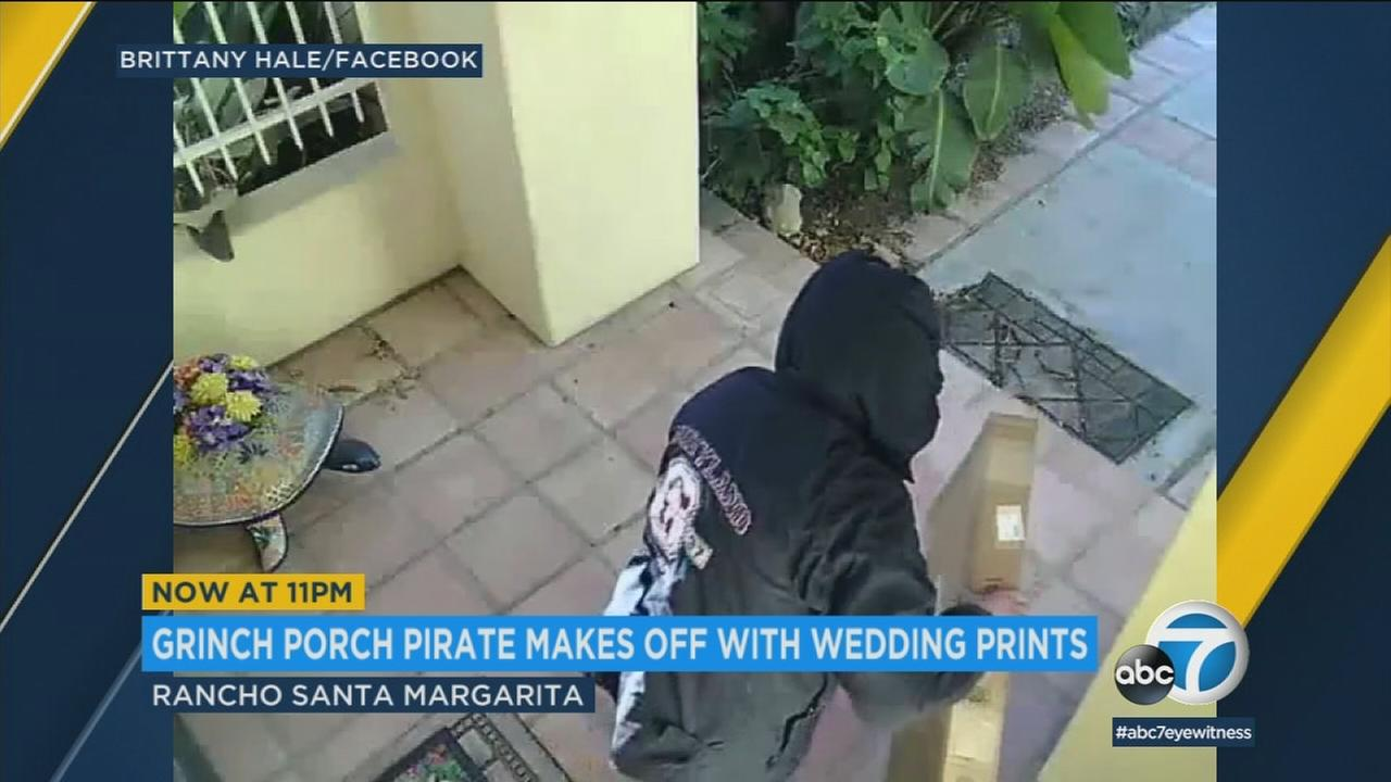A package thief is shown taking what turned out to be a wedding collage meant as a Christmas present in Rancho Santa Margarita.