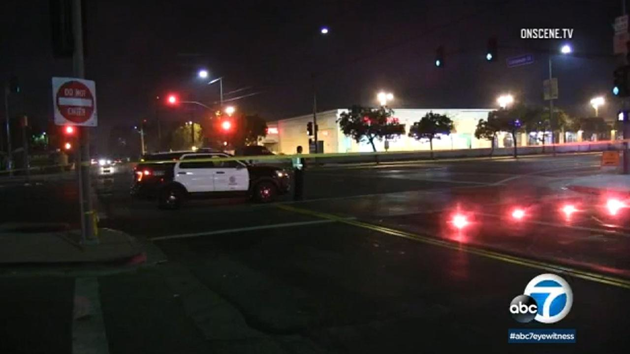 Los Angeles police on Tuesday are looking for the driver who mowed down a woman on a Leimert Park street and left her for dead Christmas night.