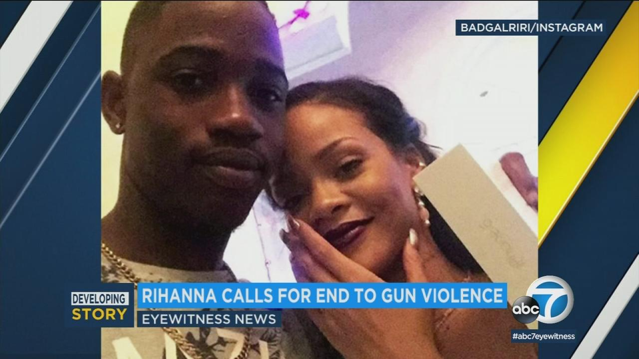 A photo of singer Rihanna and her 21-year-old cousin, who was fatally shot in Barbados.