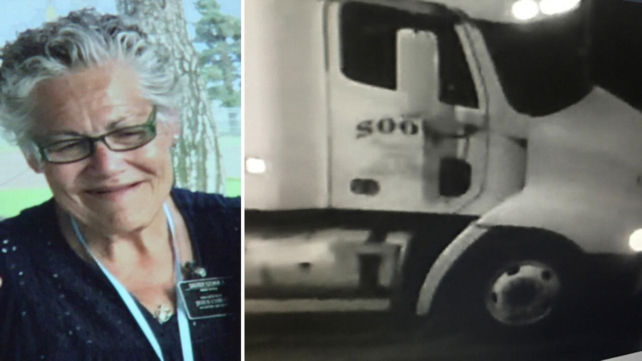 A split image shows deadly hit-and-run victim Cynthia Szukala and the truck that police say was the one that struck her in Boyle Heights before fleeing on Thursday, Dec. 21, 2017.