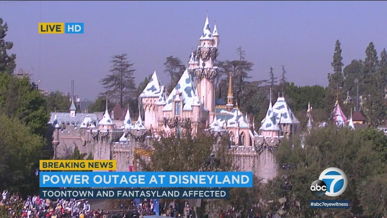 A power outage is affecting parts of Disneyland on Wednesday, leaving some passengers stranded on rides.